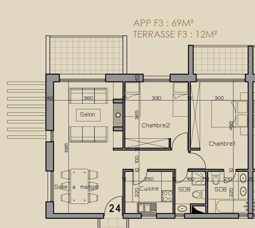 plan appartement 75m2